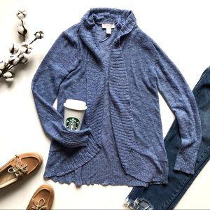 LOFT Periwinkle Blue Nubby Open Cardigan Sweater